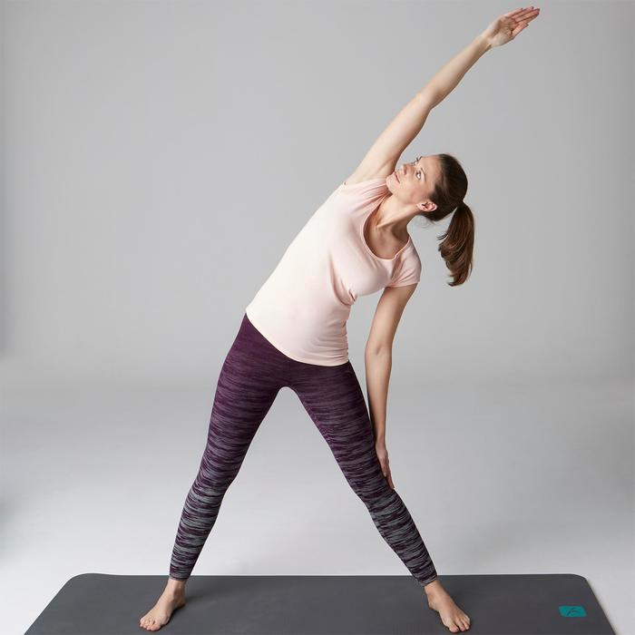 Legging FIT+ 500 slim fit gym en stretching dames paars/grijs AOP