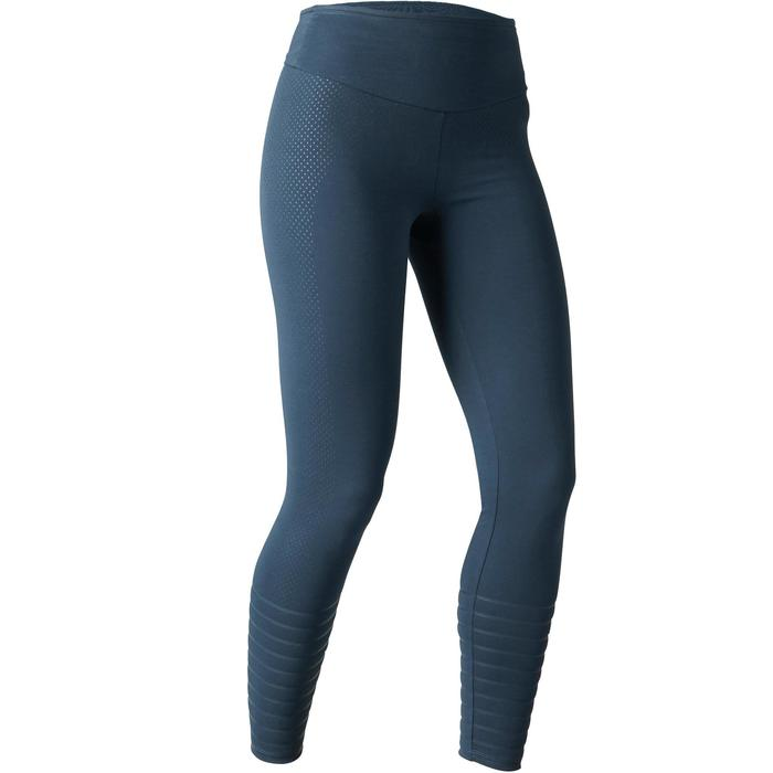 Mallas Leggings Deportivos Gimnasia Pilates Domyos 900 Slim Mujer Azul