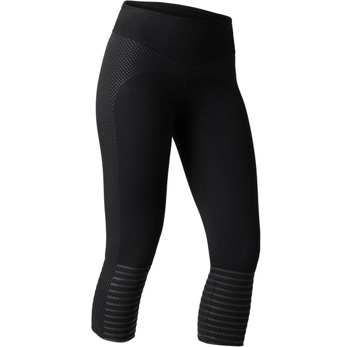 7/8-dameslegging 900 voor gym stretching en pilates slim fit zwart