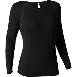 女款長袖伸展運動與皮拉提斯T恤900 - 黑色