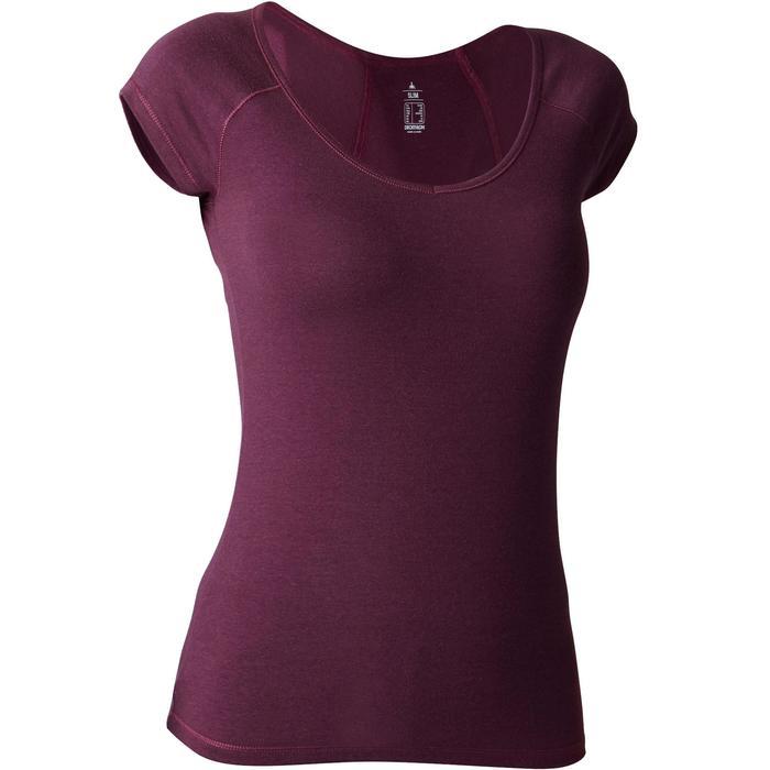 Dames T-shirt 500 voor gym en stretching slim fit paars
