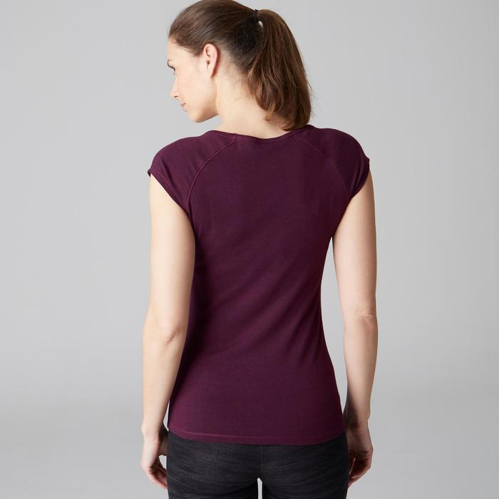 T-Shirt 500 Slim Gym Stretching Damen lila