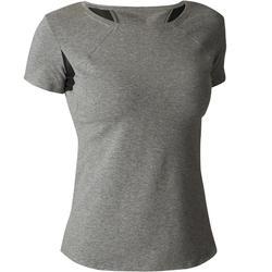 Dames T-shirt Free Move 520 voor gym en stretching gemêleerd grijs