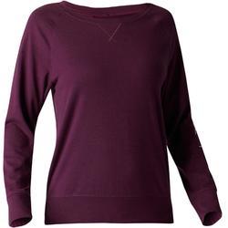 Dames T-shirt 500 met lange mouwen voor gym en stretching pruimkleurig print