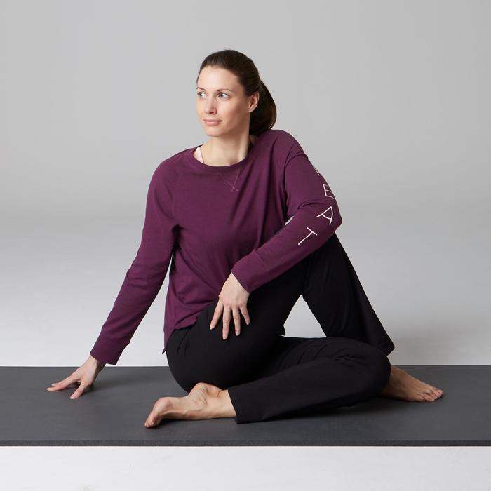 Langarmshirt 500 Gym Stretching Damen pflaume mit Print