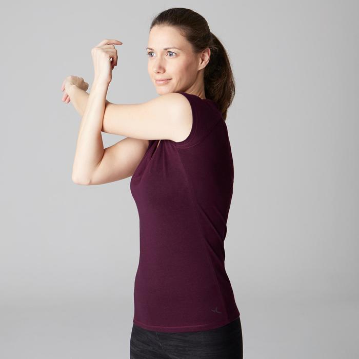 Camiseta 500 slim Gimnasia Stretching mujer violeta