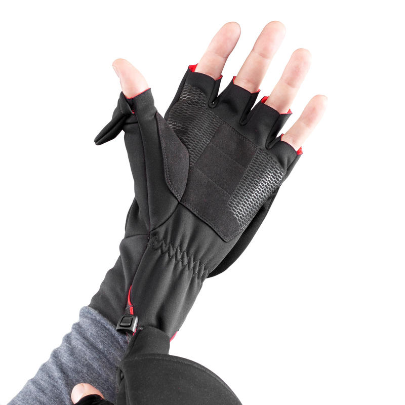 Trek 500 Mountain Trekking Fingerless Mittens - Black