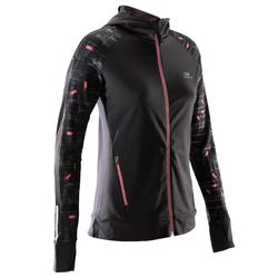 RUN WARM WOMEN'S JOGGING JACKET HOOD BLACK CORAL
