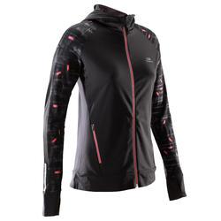 女款慢跑連帽外套RUN WARM - 黑色/珊瑚紅