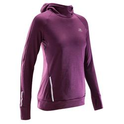 Shirt lange mouwen jogging dames Run Warm Hood bordeauxrood