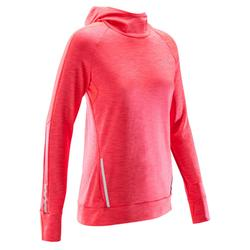 Shirt lange mouwen jogging dames Run Warm Hood koraalrood