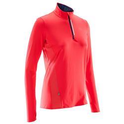 Camiseta Manga Larga Running Kalenji Mujer Rojo Coral Transpirable