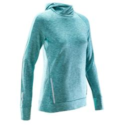 RUN WARM LONG-SLEEVED WOMEN'S JOGGING JERSEY HOOD LIGHT GREEN