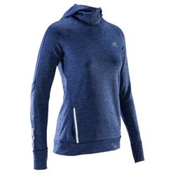 Shirt lange mouwen jogging dames Run Warm Hood gemêleerd