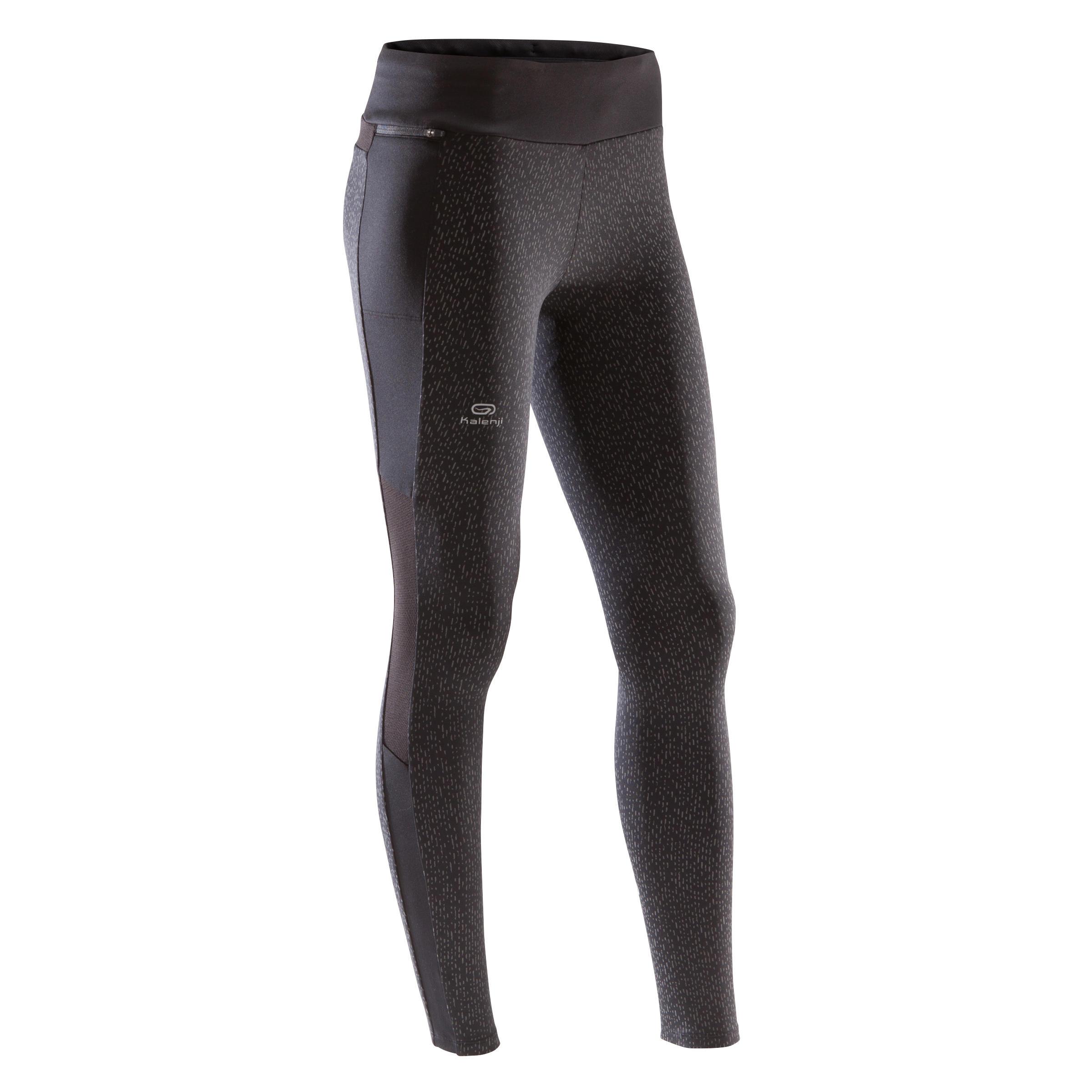 Kalenji Warme loopbroek voor dames Run Warm+ zwart nacht