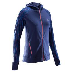女款跑步長袖連帽外套RUN WARM - 海軍藍