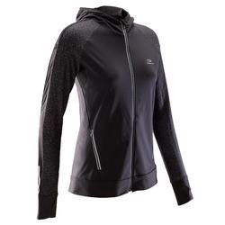 Hardloopjack jogging dames Run Warm Night zwart met opdruk