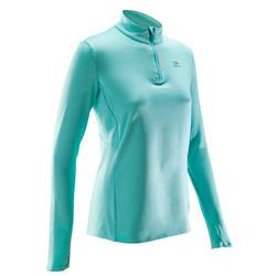 Camiseta Manga Larga Running Kalenji Run Warm Mujer Verde Turquesa