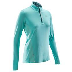 Laufshirt langarm Run Dry+ Zip Damen hellgrün