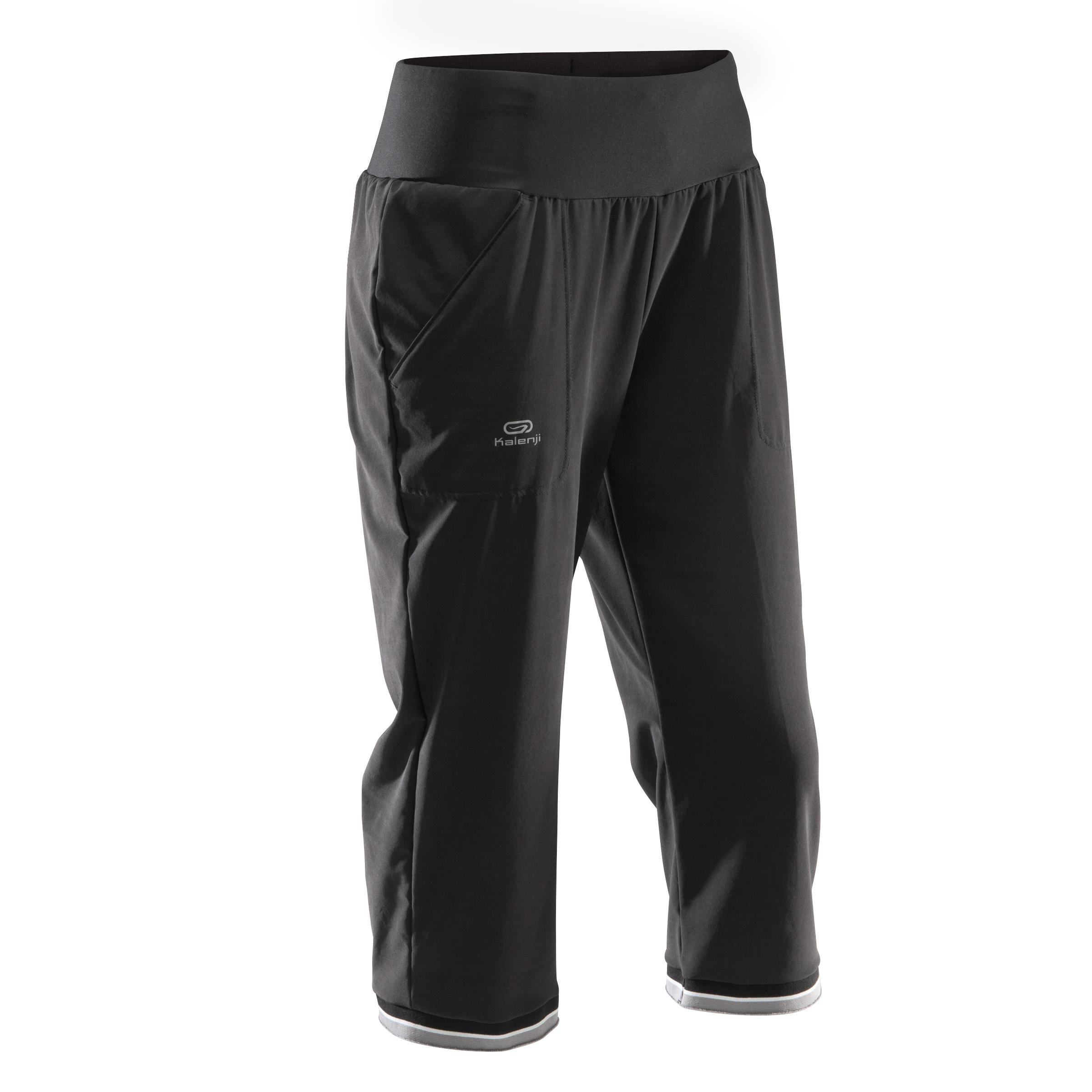 Laufhose 3/4 Run Dry Damen schwarz | Sportbekleidung > Sporthosen > Laufhosen | Schwarz | Kalenji