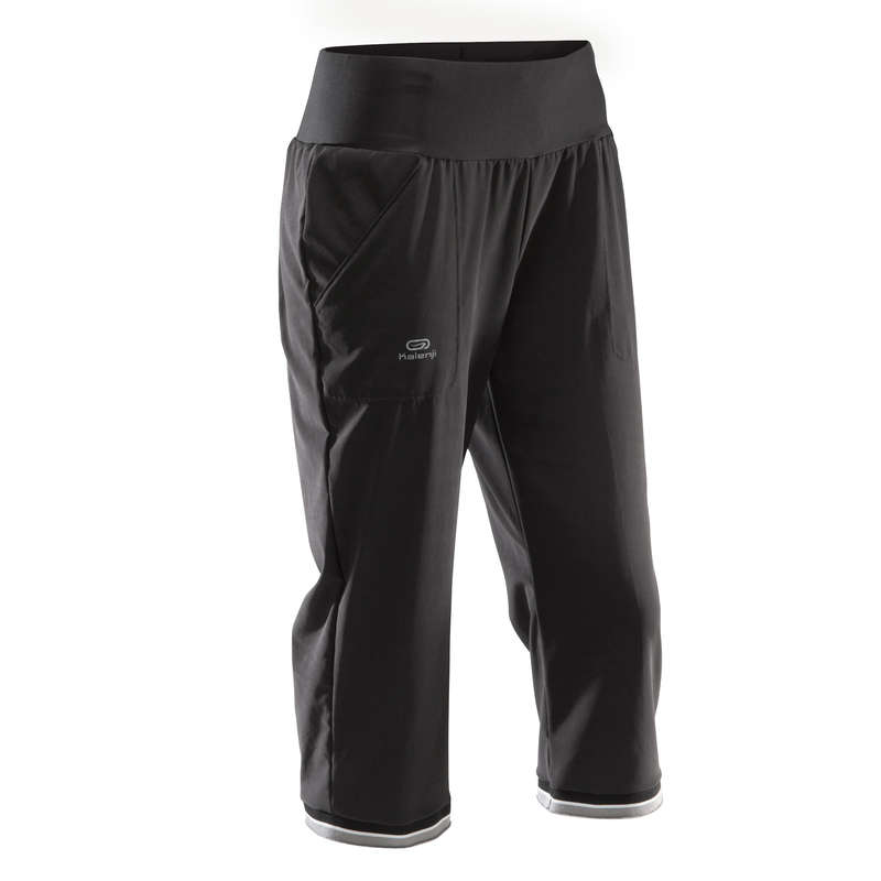 OCCAS WOMAN JOG WARM/MILD WHTR CLOTHES Running - RUN DRY CROPPED TROUSERS KALENJI - Running Clothing