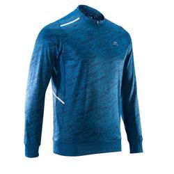 男款跑步長袖T恤RUN WARM - 中國藍