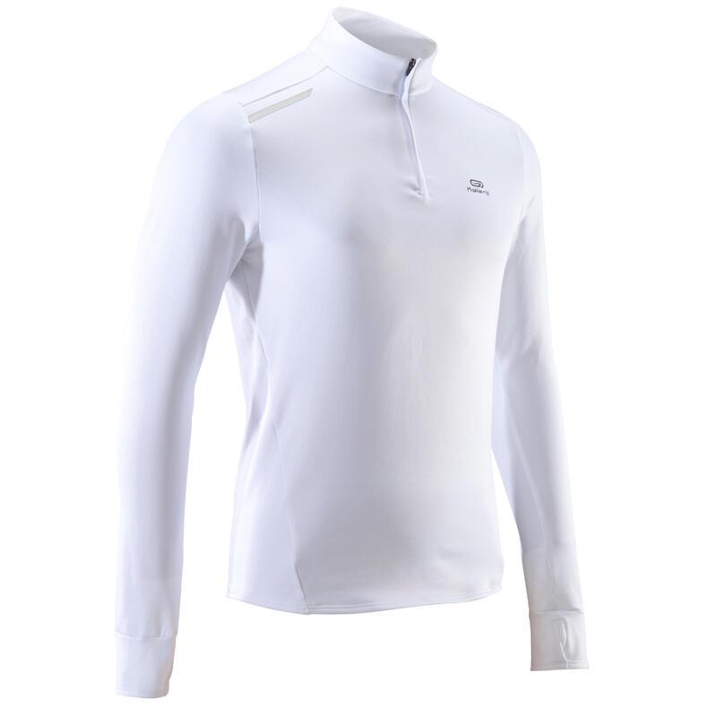 Pánské běžecké tričko s dlouhým rukávem Run Warm bílé