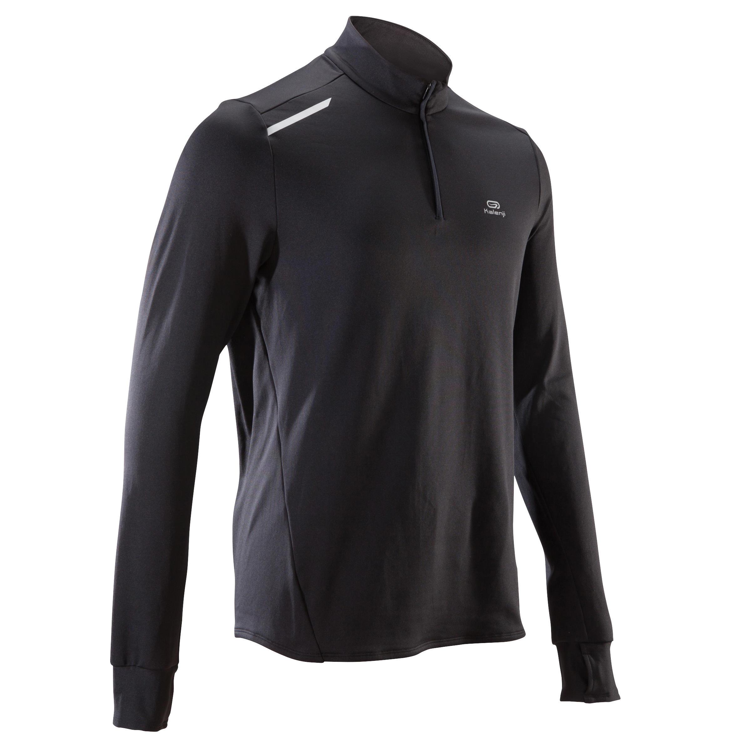 Tee shirt manches longues running homme run warm noir kalenji