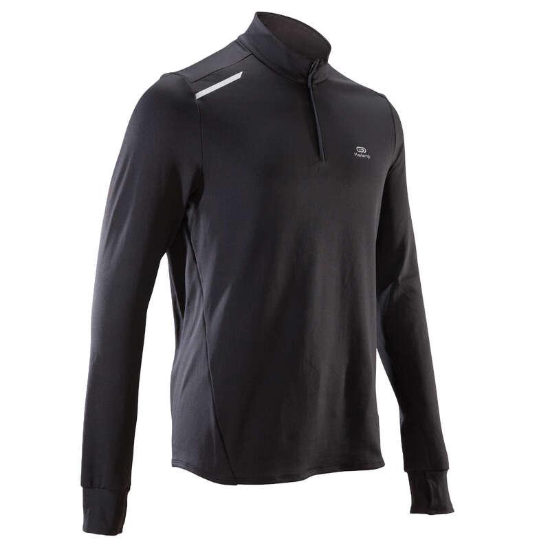 PÁNSKÉ HŘEJIVÉ OBLEČENÍ NA JOGGING Běh - BĚŽECKÉ TRIČKO RUN WARM ČERNÉ KALENJI - Běžecké oblečení