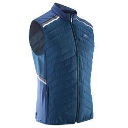 男款跑步背心外套RUN WARM+ - 深藍色