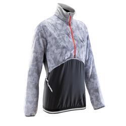 Laufshirt Langarm Trail Evolutiv Damen grau/weiß mit Muster