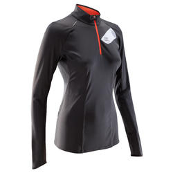 WOMEN'S LONG-SLEEVED TRAIL RUNNING SHIRT DARK GREY PINK