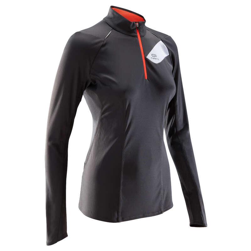 WOMAN TRAIL RUNNING CLOTHES - TRAIL LS TS W DARK GREY PINK EVADICT