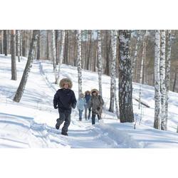 Chaussettes de randonnée neige junior SH100 warm mid corail grises.
