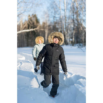 Camiseta de senderismo nieve junior SH500 x-warm negro