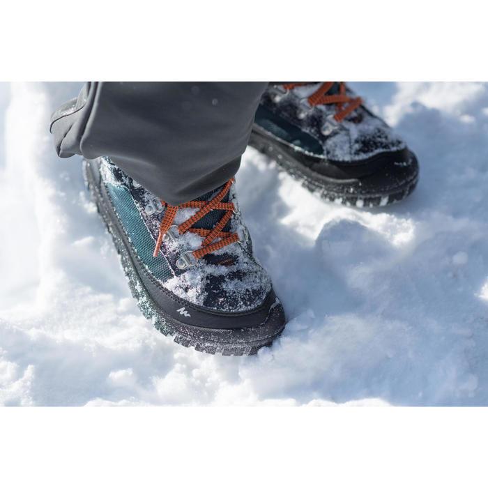 兒童款繫帶式保暖雪地中筒健行靴SH500-藍色