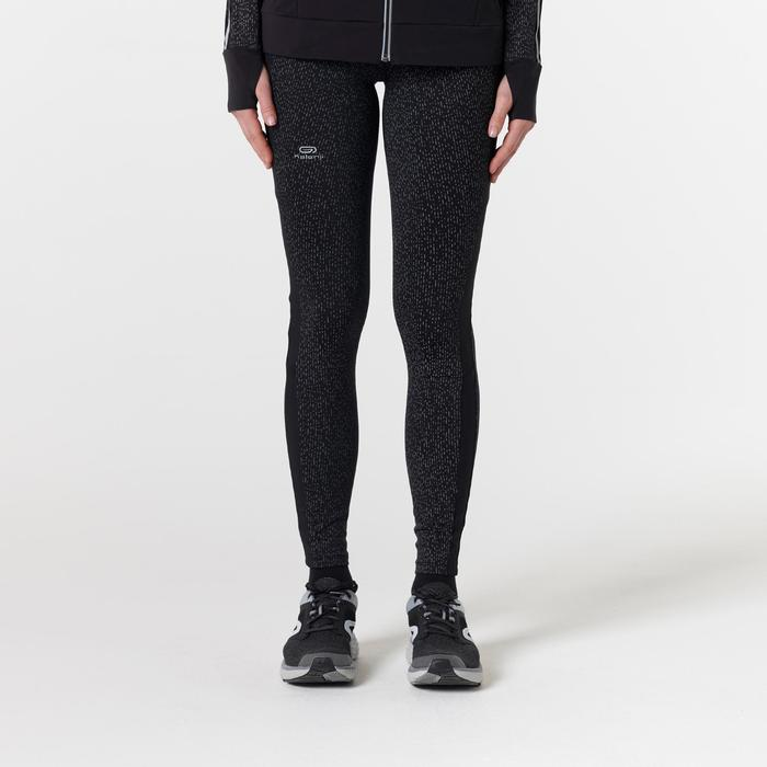 Warme loopbroek voor dames Run Warm+ zwart nacht