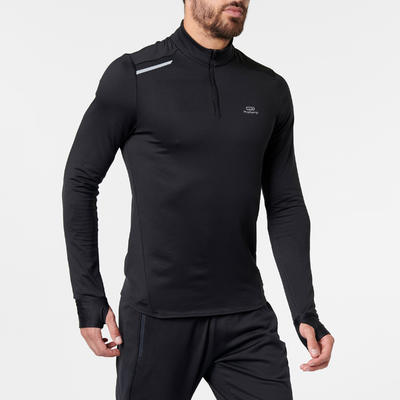 Чоловіча футболка Run Warm для бігу, з довгими рукавами - Чорна