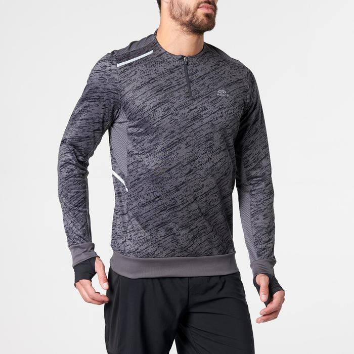 Camiseta Manga Larga Running Kalenji Run Warm+ Hombre Gris