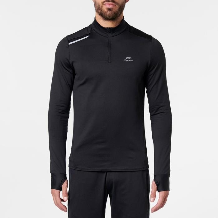 Hardloopshirt met lange mouwen voor heren Run Warm zwart