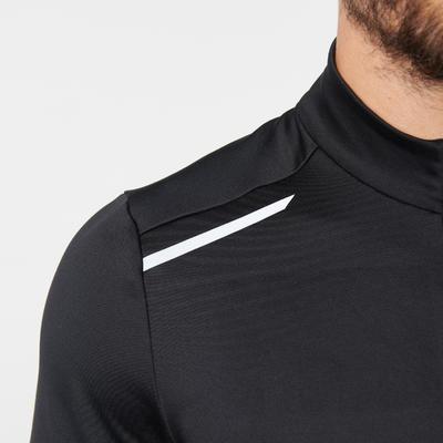 חולצת ריצה חמה ארוכה לגברים - שחור
