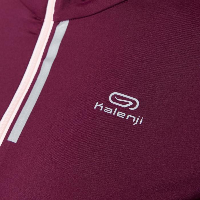 女款跑步長袖拉鍊T恤RUN DRY+紫紅色