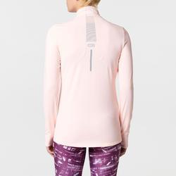 Joggingshirt Run Dry+ met lange mouwen en rits voor dames lichtroze