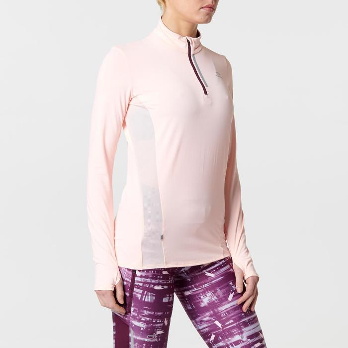 MAILLOT MANCHES LONGUES JOGGING FEMME RUN DRY+ ZIP ROSE CLAIR