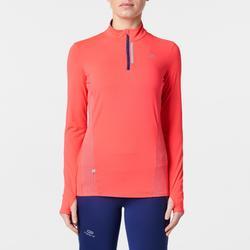 Joggingshirt met lange mouwen voor dames Run Dry+ rits rood