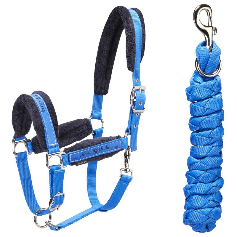 Ohlávka s vodítkem WINNER pro koně a poníky královsky modrá