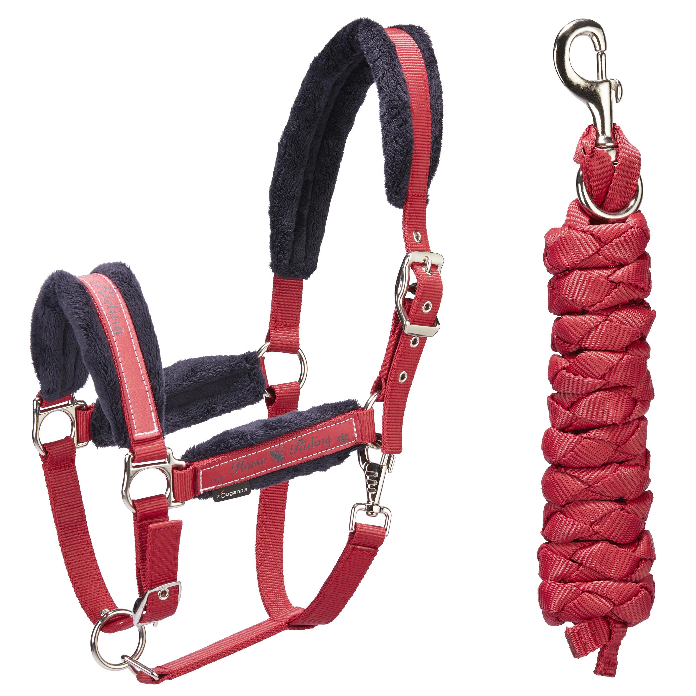 Almartigón + rienda de equitación para poni y caballo WINER rojo