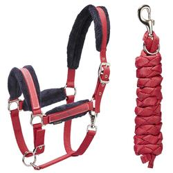 Winner Horse Riding Halter + Leadrope Set for Horse and Pony - Red