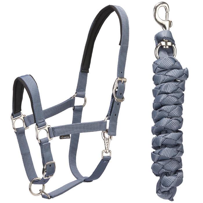 Pack licol + longe équitation cheval et poney CLASSIC gris