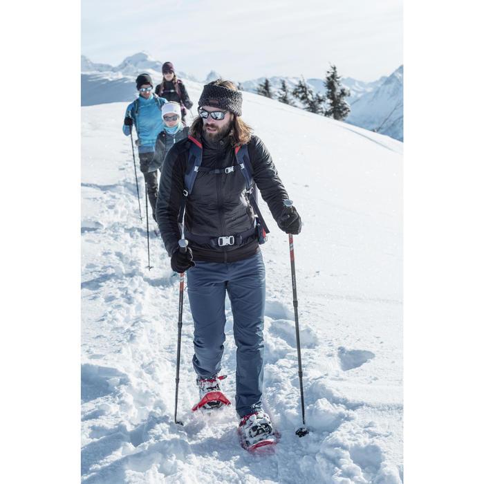 男款保暖彈性雪地健行長褲SH500-黑色。